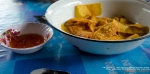 thai chips and salsa: fried wonton strips and sweet chili sauce